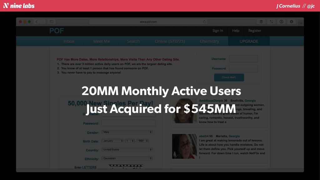 J Cornelius / / @jc 20MM Monthly Active Users J...