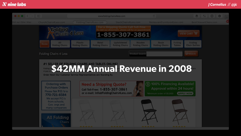 J Cornelius / / @jc $42MM Annual Revenue in 2008