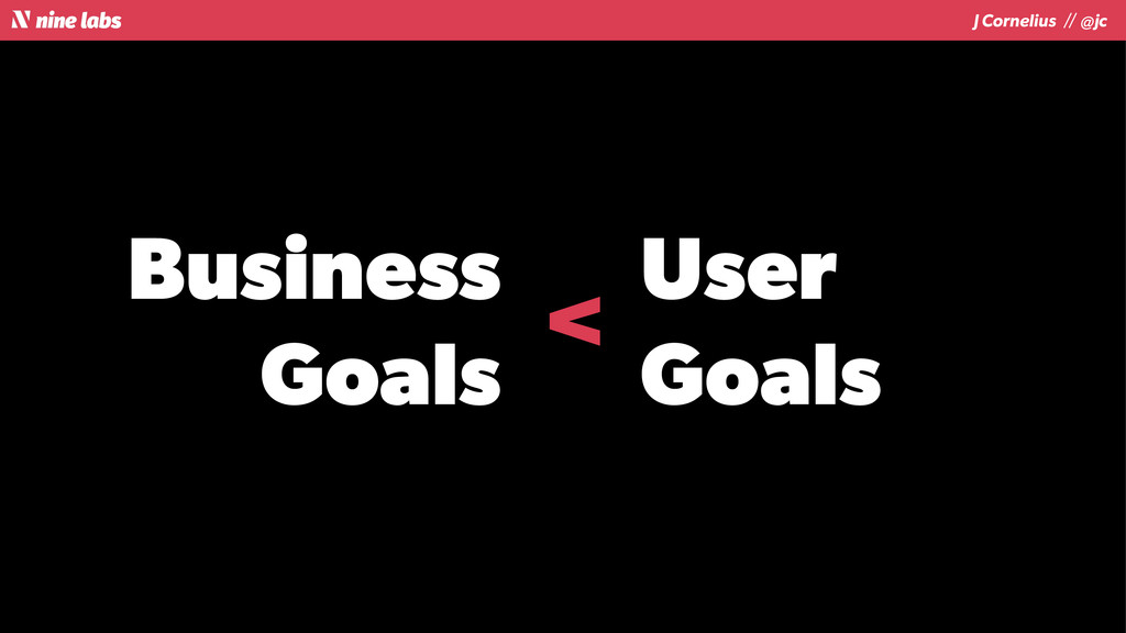 J Cornelius / / @jc Business Goals User Goals <