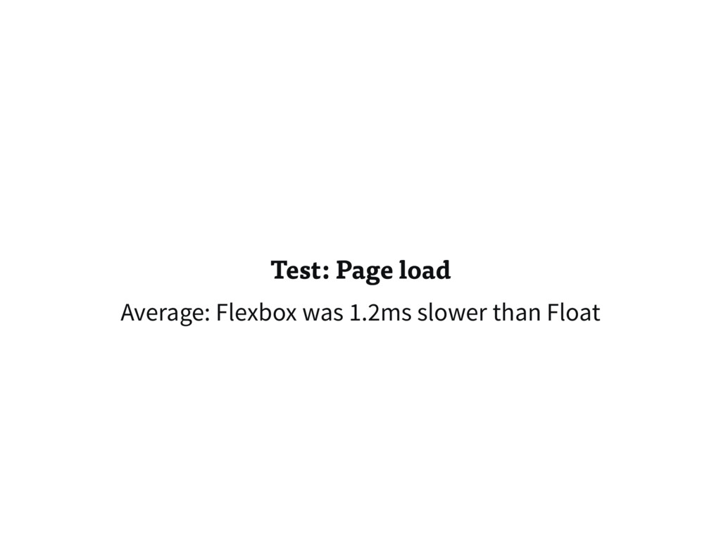 Test: Page load Average: Flexbox was 1.2ms slow...