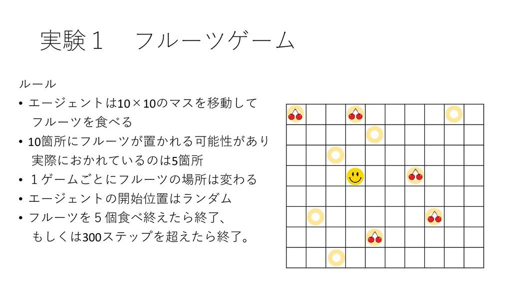 実験1 フルーツゲーム ルール • エージェントは10×10のマスを移動して フルーツを食べる...