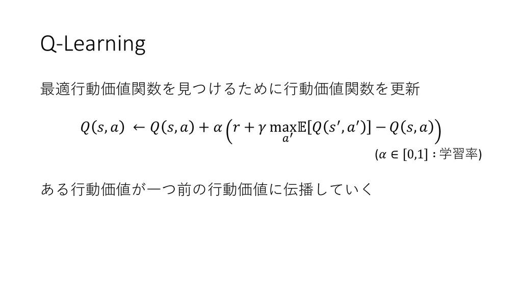 Q-Learning 最適行動価値関数を見つけるために行動価値関数を更新  ,  ←  ,  ...