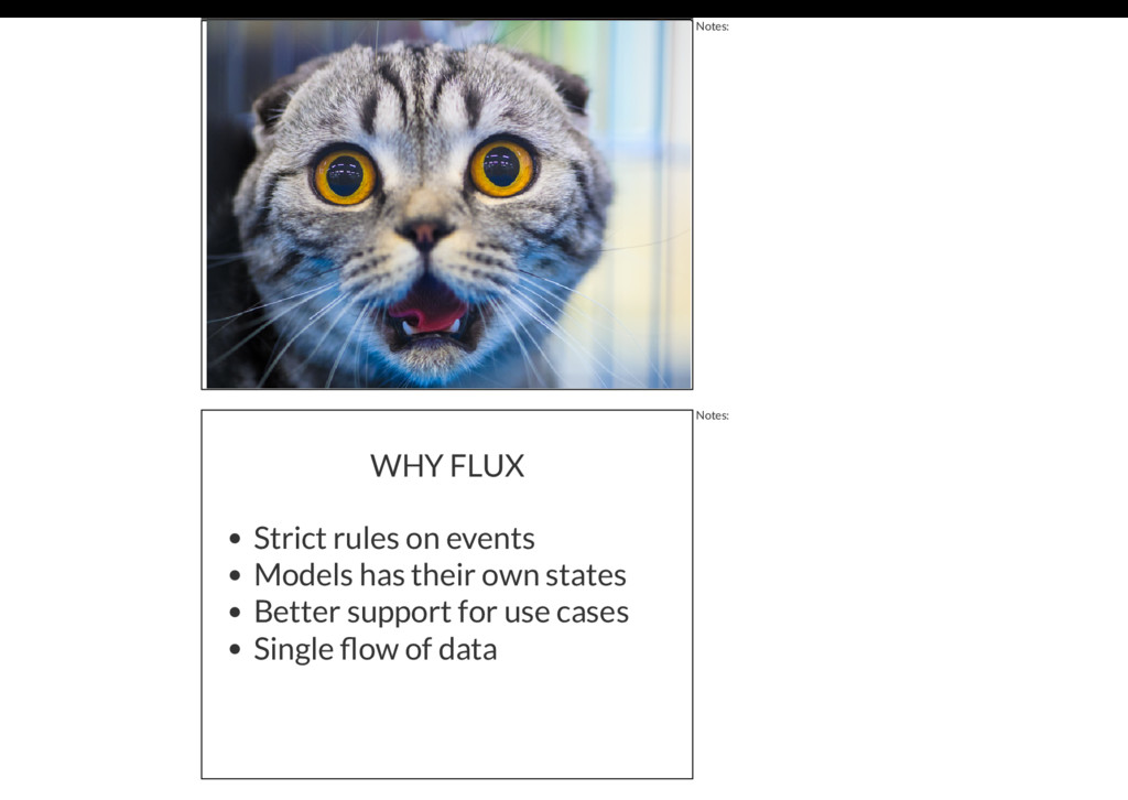 Notes: WHY FLUX Strict rules on events Models h...