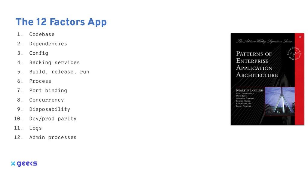 The 12 Factors App 1. Codebase 2. Dependencies ...