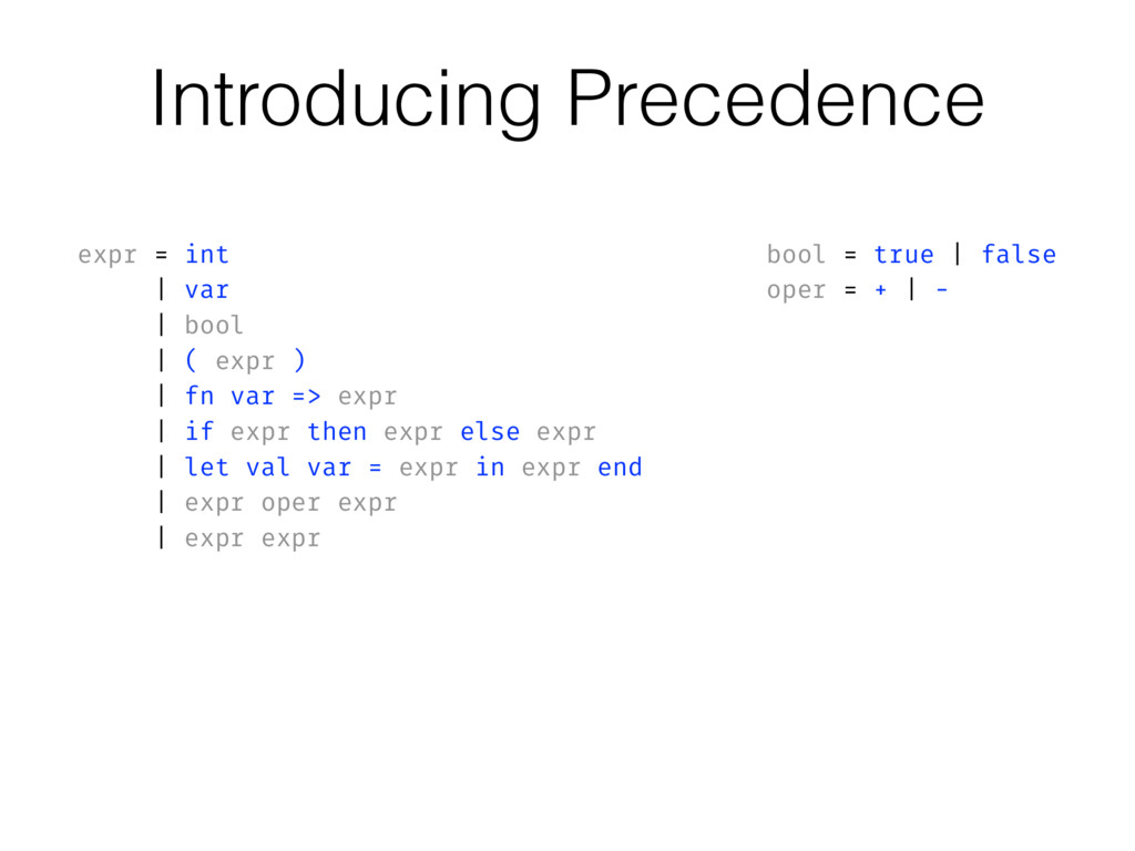 Introducing Precedence expr = int | var | bool ...