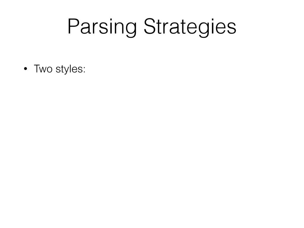 • Two styles: Parsing Strategies
