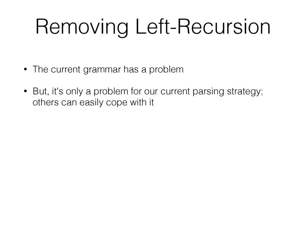 • The current grammar has a problem • But, it's...