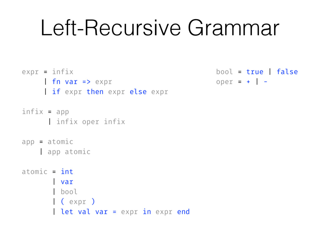 expr = infix | fn var => expr | if expr then ex...
