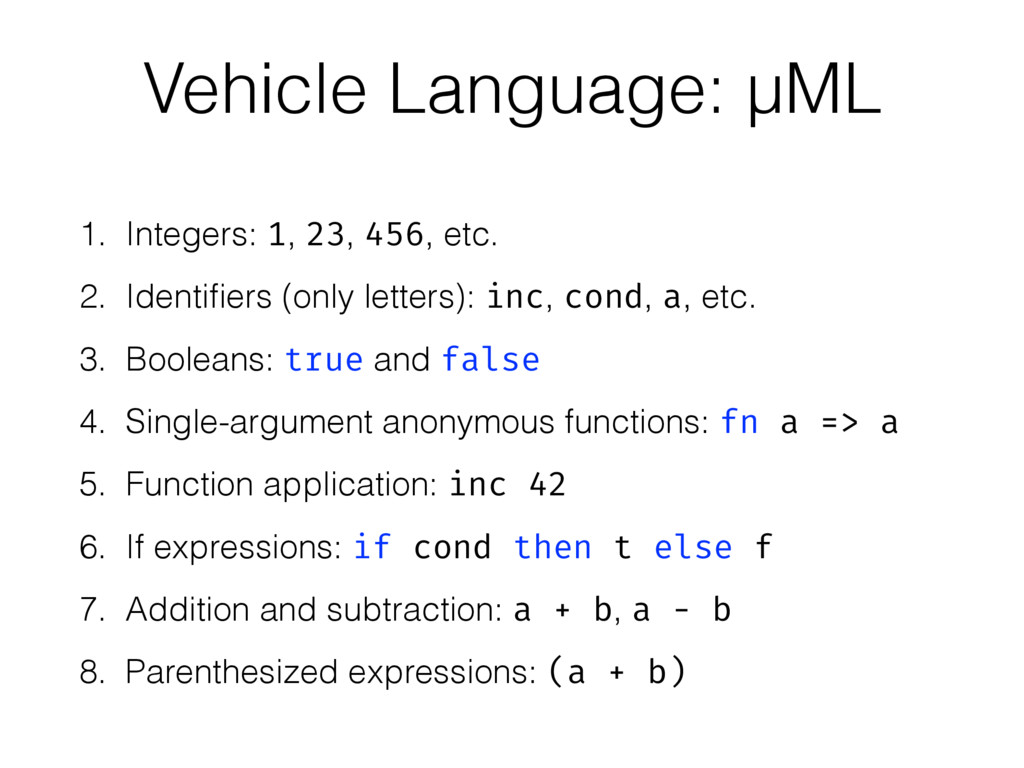 1. Integers: 1, 23, 456, etc. 2. Identifiers (on...