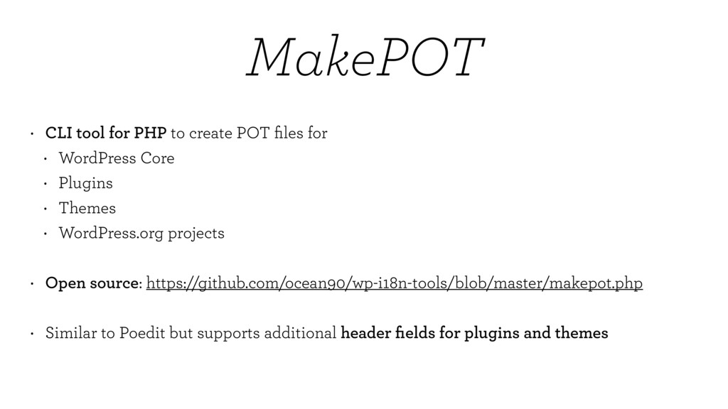 MakePOT • CLI tool for PHP to create POT files f...