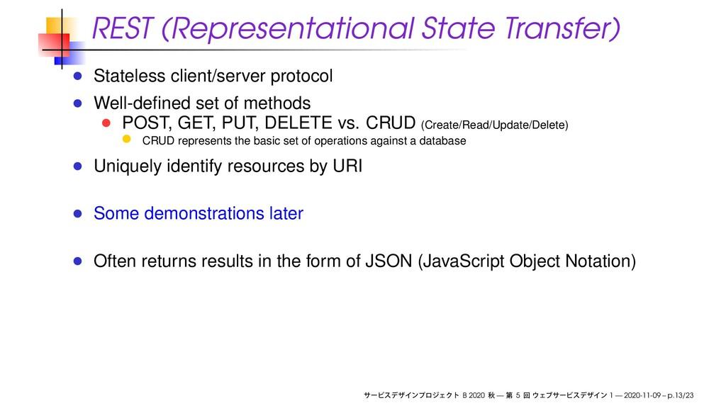 REST (Representational State Transfer) Stateles...