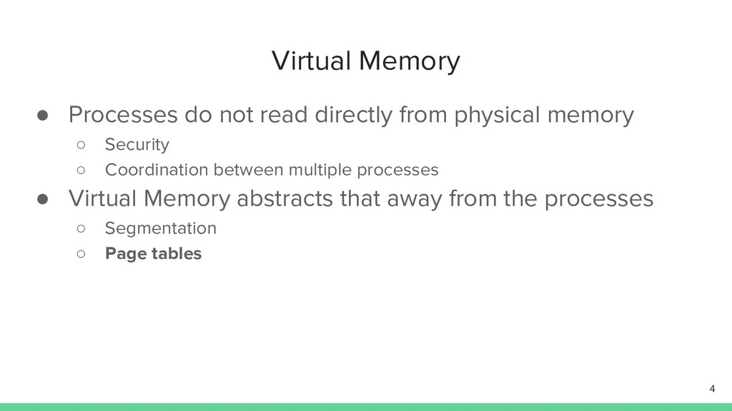 Virtual Memory ● Processes do not read directly...