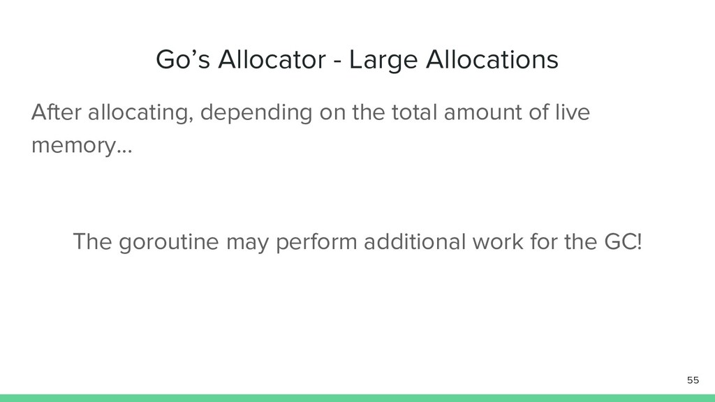 Go's Allocator - Large Allocations 55 After all...