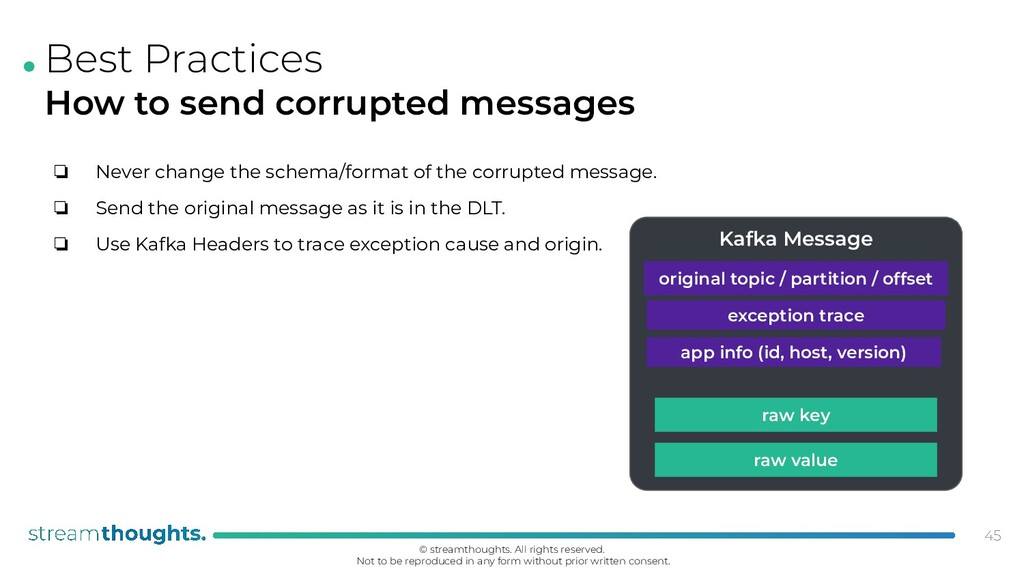 . Best Practices How to send corrupted messages...