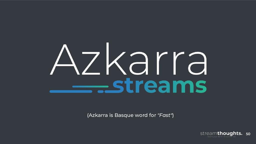 "50 (Azkarra is Basque word for ""Fast"") 50"