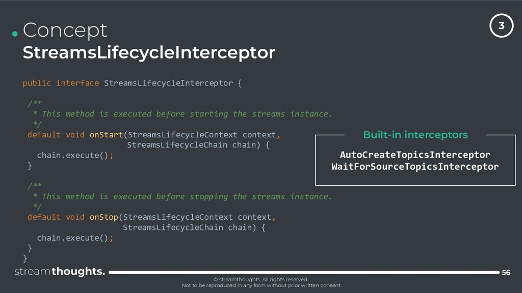 . Concept StreamsLifecycleInterceptor 56 public...