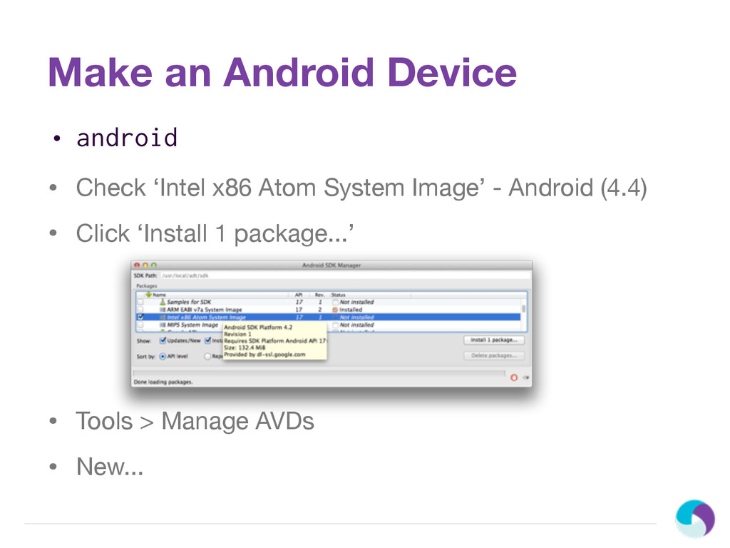 Make an Android Device • android • Check 'Intel...