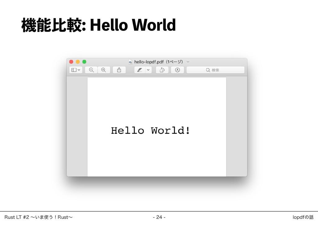 機能比較: Hello World ‒ 24 ‒ Rust LT #2 ~いま使う!Rust~...