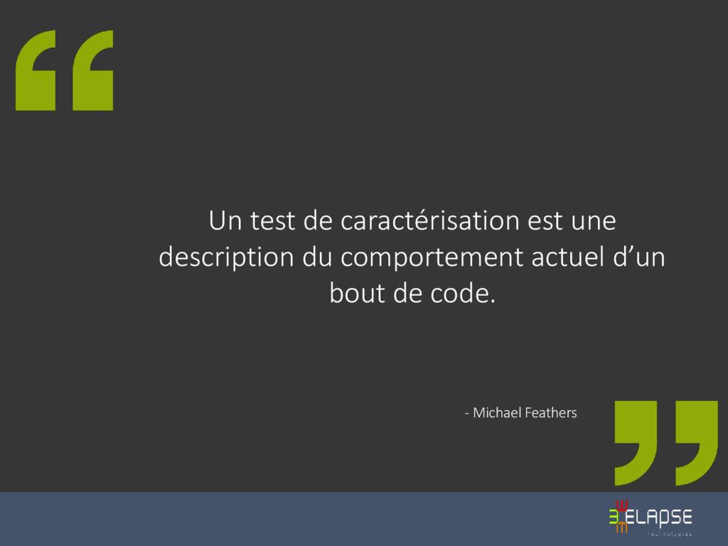 Un test de caractérisation est une description ...