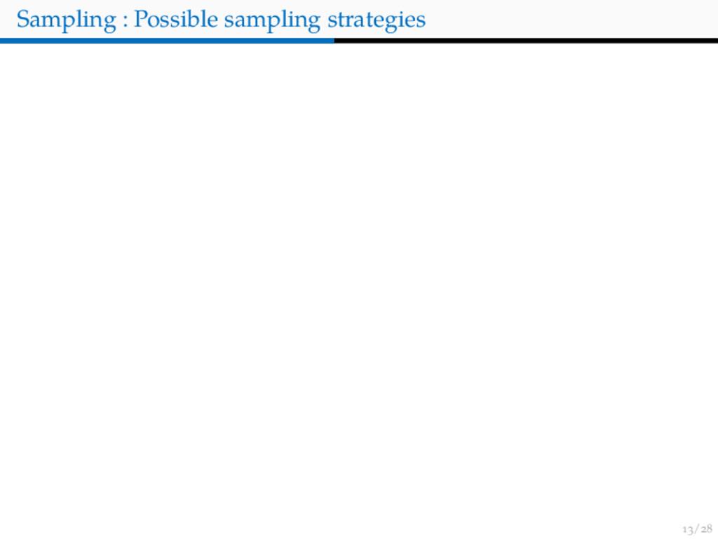 / Sampling : Possible sampling strategies
