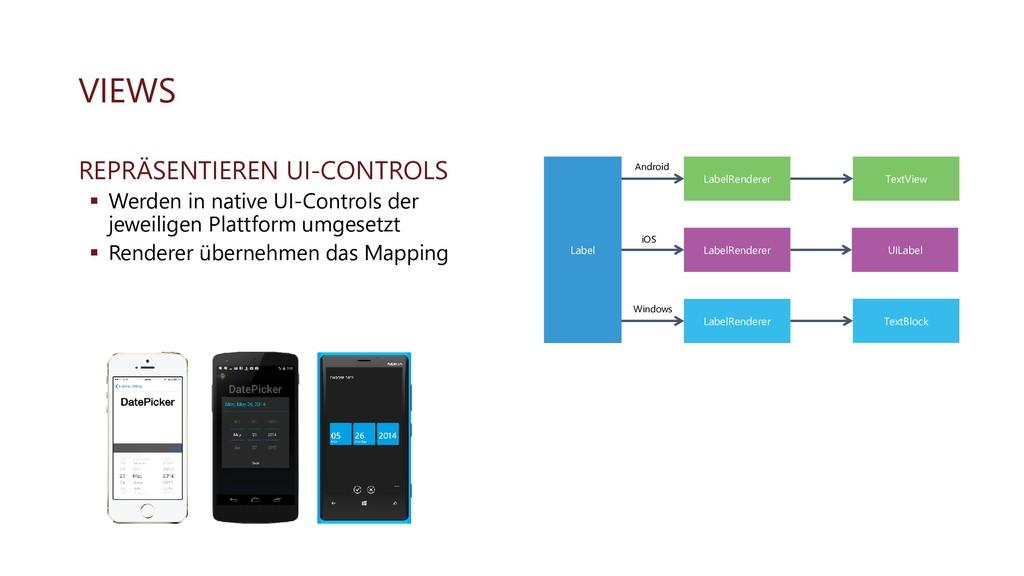 VIEWS REPRÄSENTIEREN UI-CONTROLS ▪ Werden in na...