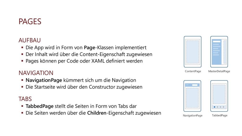 PAGES AUFBAU ▪ Die App wird in Form von Page-Kl...