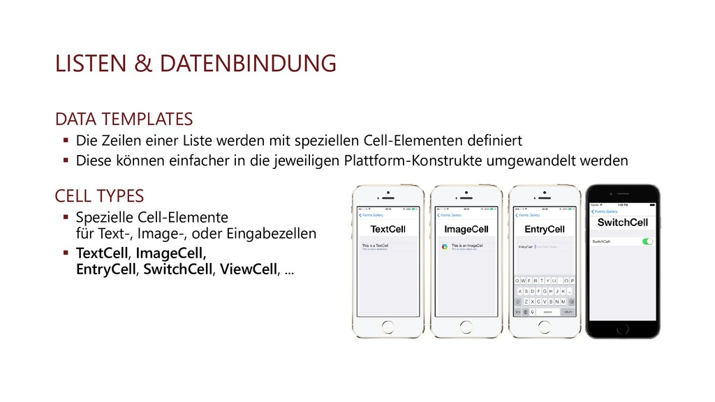 LISTEN & DATENBINDUNG DATA TEMPLATES ▪ Die Zeil...