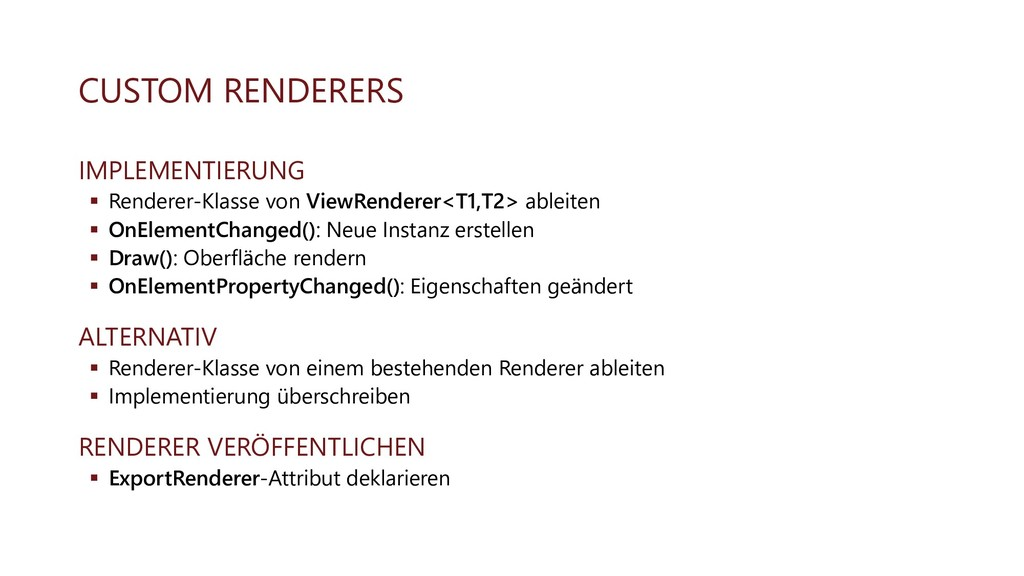 CUSTOM RENDERERS IMPLEMENTIERUNG ▪ Renderer-Kla...