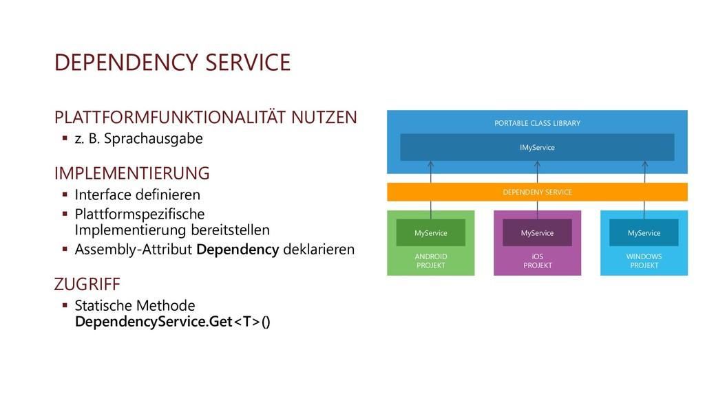 DEPENDENCY SERVICE PLATTFORMFUNKTIONALITÄT NUTZ...