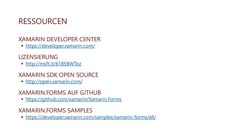 RESSOURCEN XAMARIN DEVELOPER CENTER ▪ https://d...