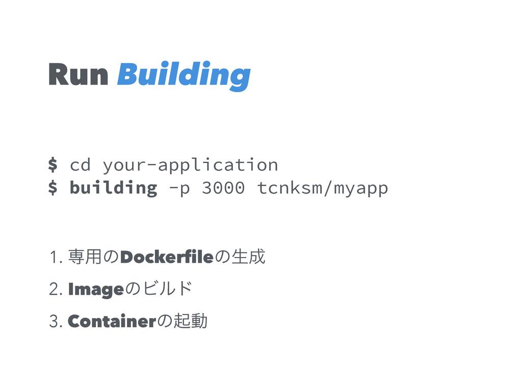 Run $ cd your-application $ building -p 3000 tc...