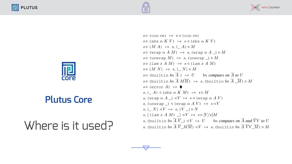 PLUTUS core Plutus Core Where is it used?