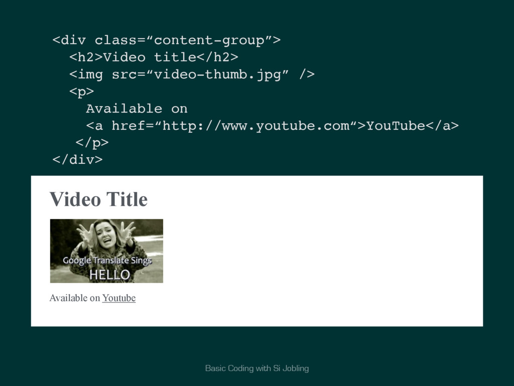 Basic Coding with Si Jobling Video Title Availa...