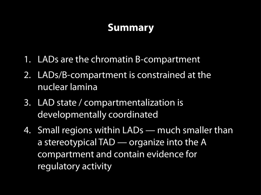 Summary 1. LADs are the chromatin B-compartment...