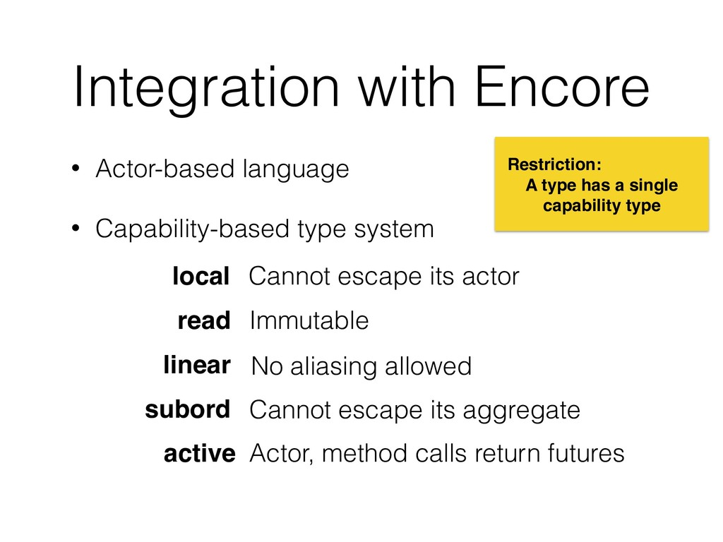 Integration with Encore • Actor-based language ...