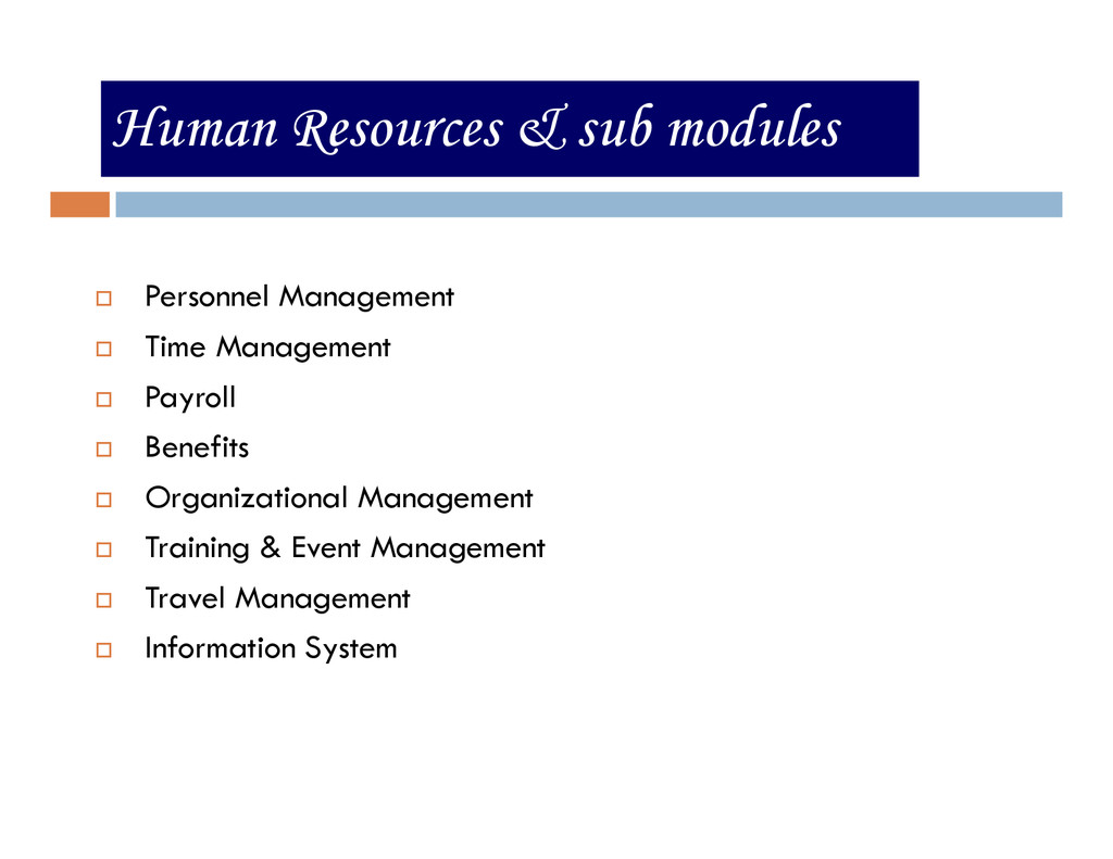 Human Resources & sub modules Personnel Managem...
