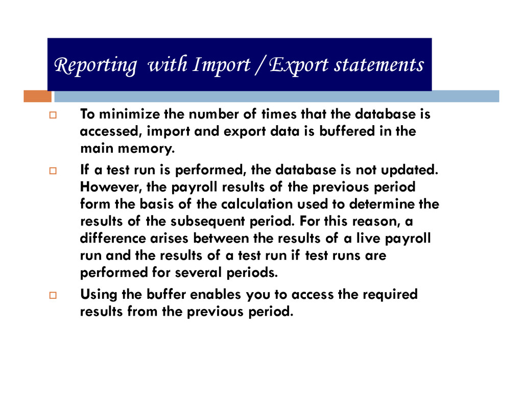 Reporting with Import / Export statements To mi...