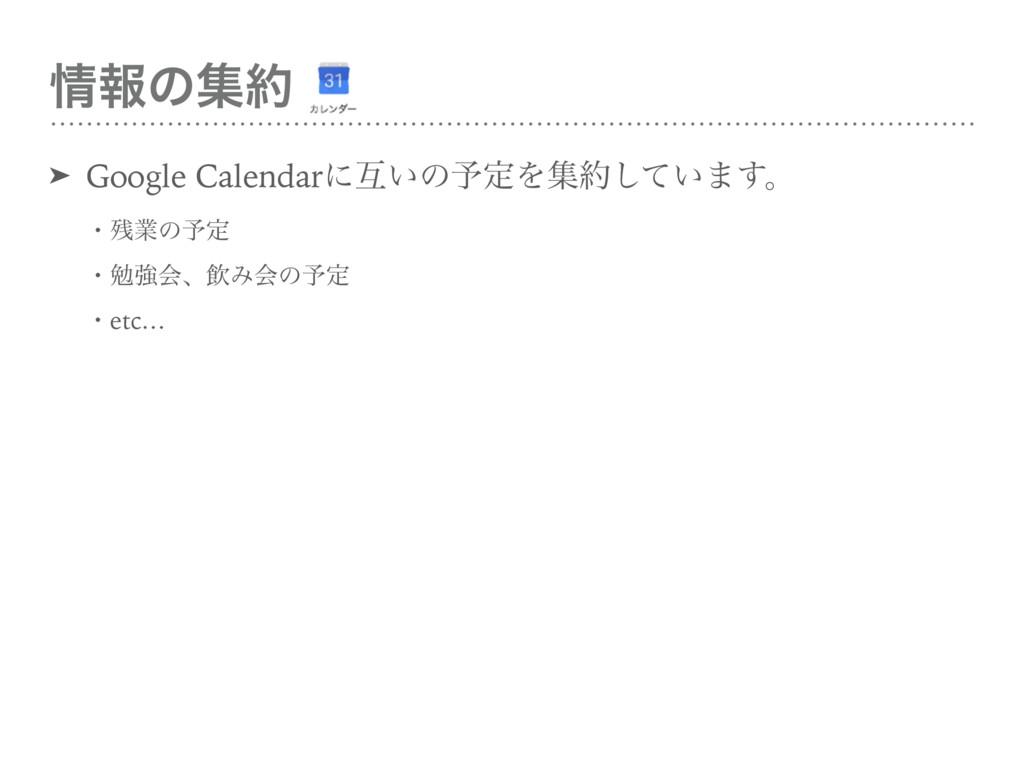 ใͷू ➤ Google Calendarʹޓ͍ͷ༧ఆΛू͍ͯ͠·͢ɻ ɾۀͷ༧ఆ...