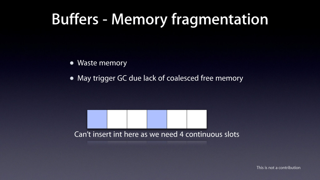 Buffers - Memory fragmentation Waste memory May...