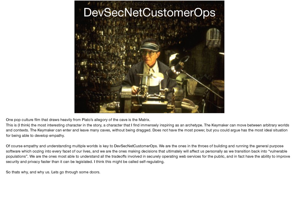 DevSecNetCustomerOps One pop culture film that d...