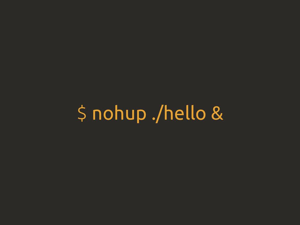 $ nohup ./hello &