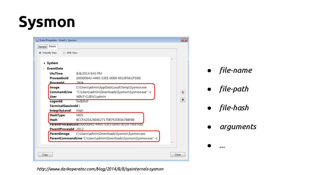 Sysmon ● file-name ● file-path ● file-hash ● ar...