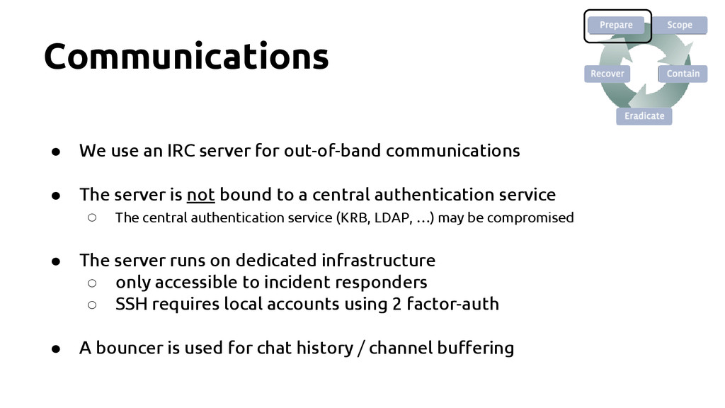 Communications ● We use an IRC server for out-o...