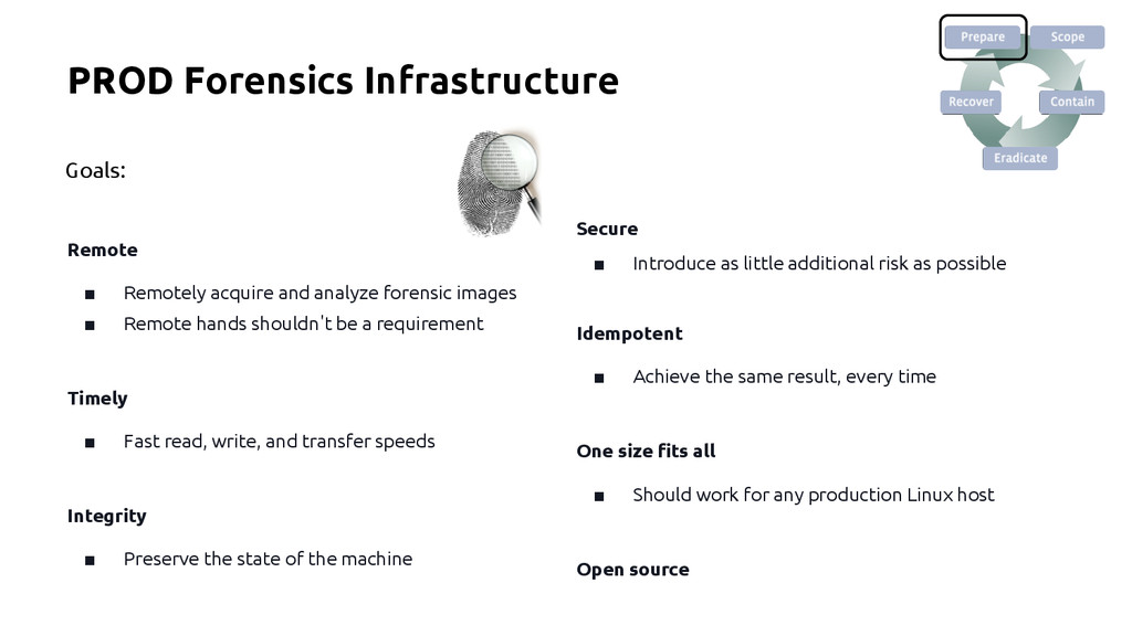 PROD Forensics Infrastructure Remote ■ Remotely...