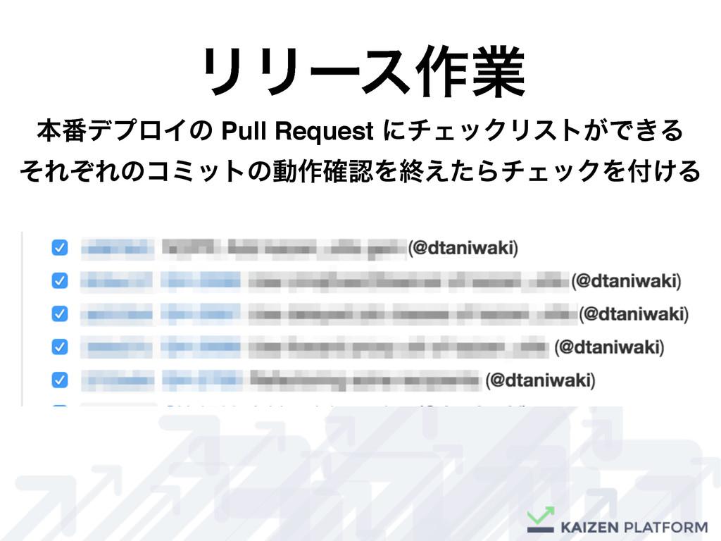 ϦϦʔε࡞ۀ ຊ൪σϓϩΠͷ Pull Request ʹνΣοΫϦετ͕Ͱ͖Δ ͦΕͧΕͷί...