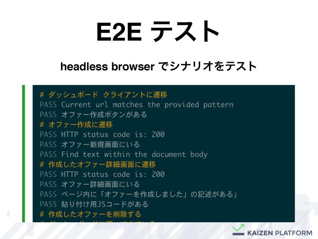 E2E ςετ headless browser ͰγφϦΦΛςετ