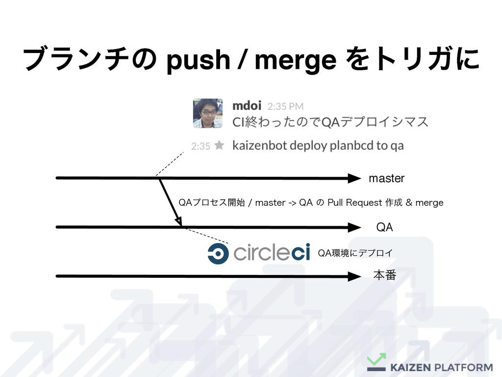 """ϒϥϯνͷ push / merge ΛτϦΨʹ master QA ຊ൪ 2""""ϓϩηε։..."""
