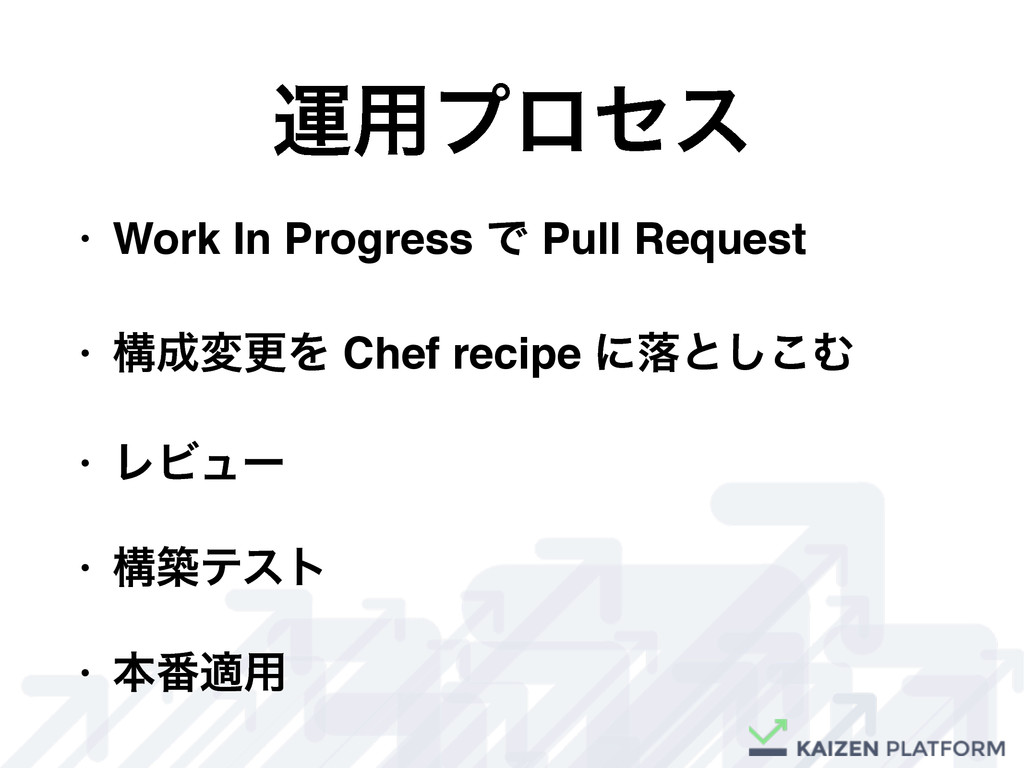 • Work In Progress Ͱ Pull Request • ߏ੒มߋΛ Chef ...