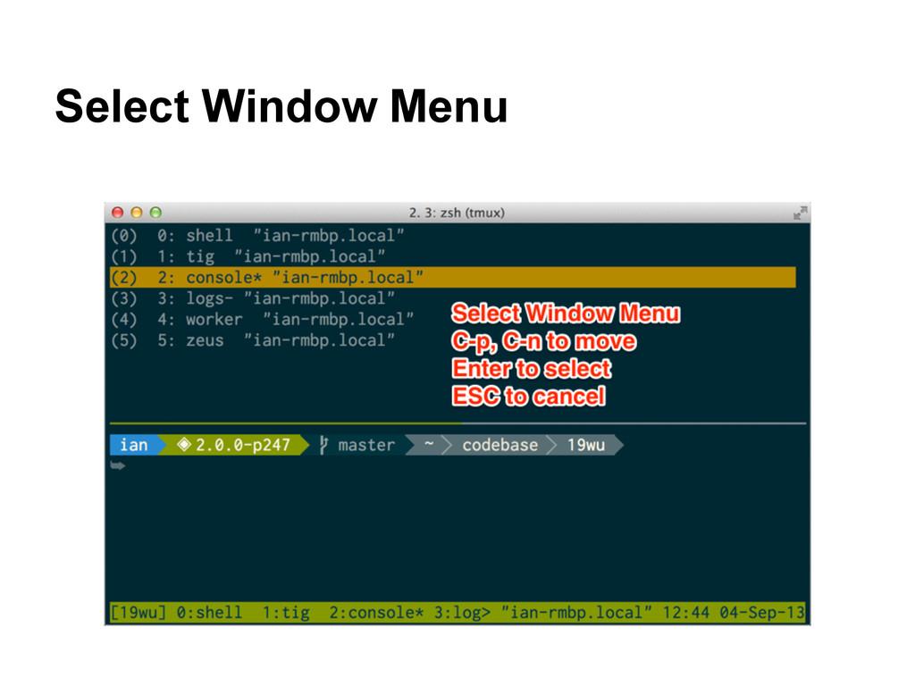 Select Window Menu