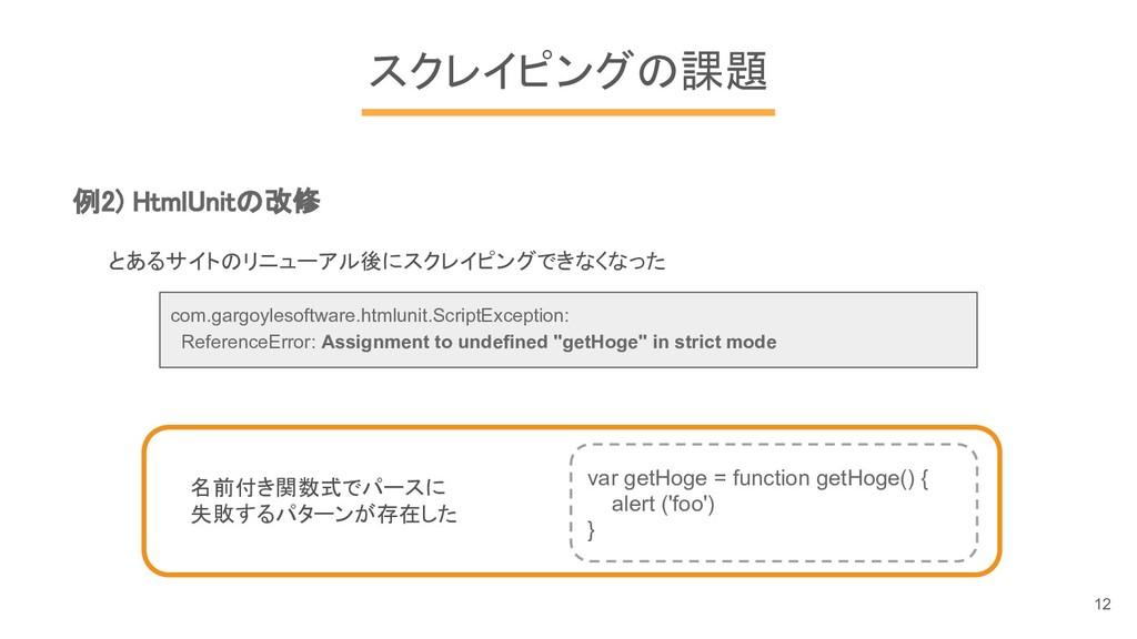 スクレイピングの課題 例2) HtmlUnitの改修 とあるサイトのリニューアル後にスクレイピ...